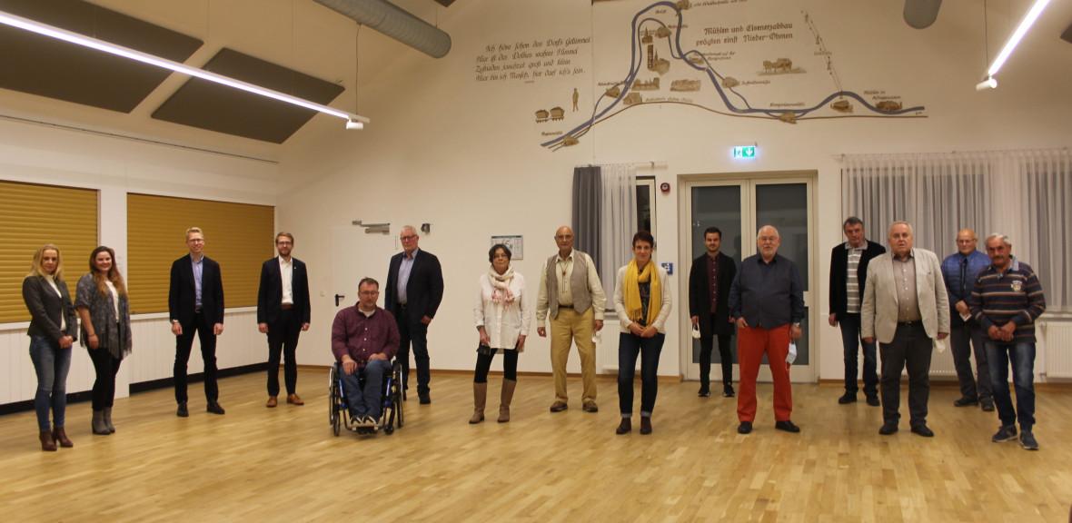 Ein Teil der Bewerber*innen auf der Liste der CDU-Mücke anlässlich der Mitglieder-versammlung im DGH Nieder-Ohmen