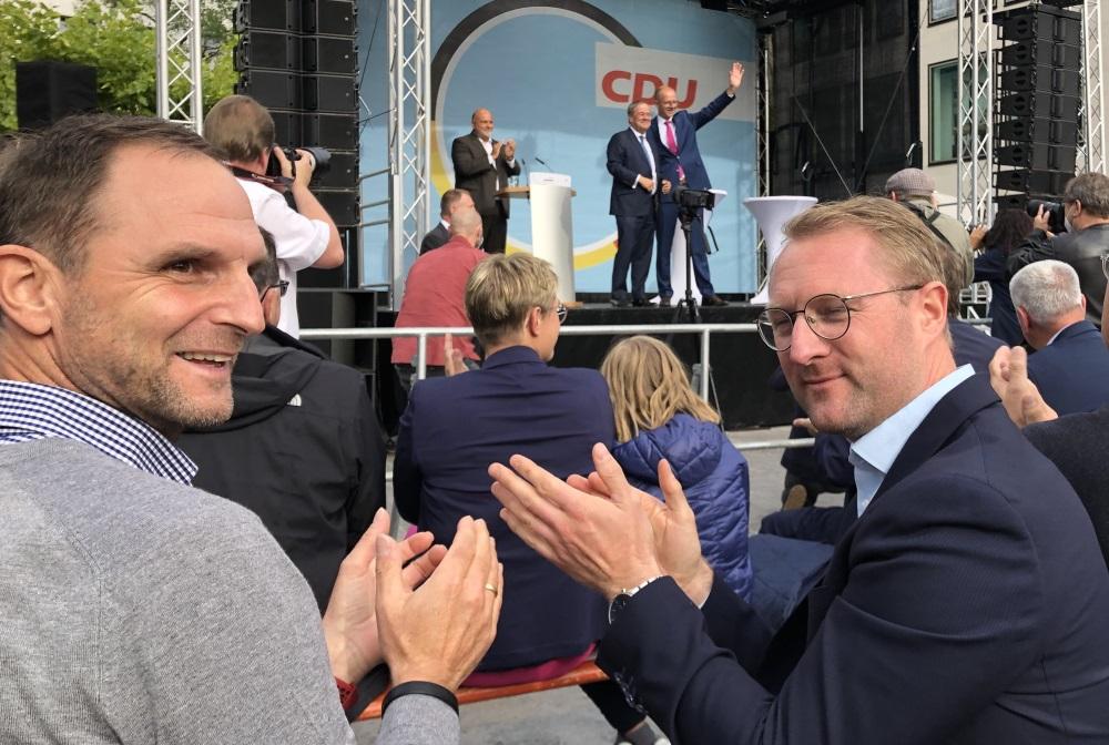 Die Vogelsberger Union mit CDU-Kreisvorsitzendem Dr. Jens Mischak (Mitte) engagiert sich für einen Wahlsieg von Kanzlerkandidat Armin Laschet